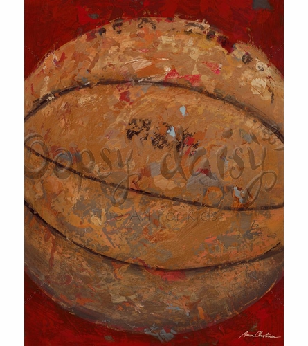 Vintage Basketball Canvas Wall Art in Red
