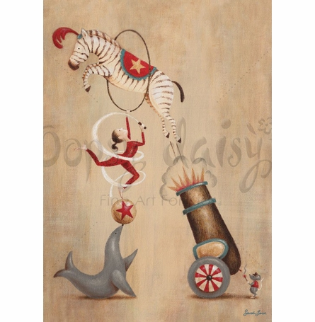 Vintage Circus Cannon Canvas Wall Art