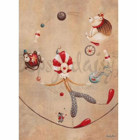 Vintage Circus Clown Canvas Wall Art