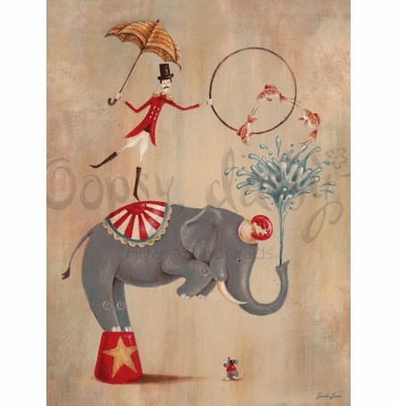 Vintage Circus Elephant Canvas Wall Art