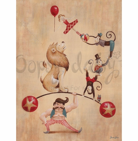 Vintage Circus Strong Man Canvas Wall Art