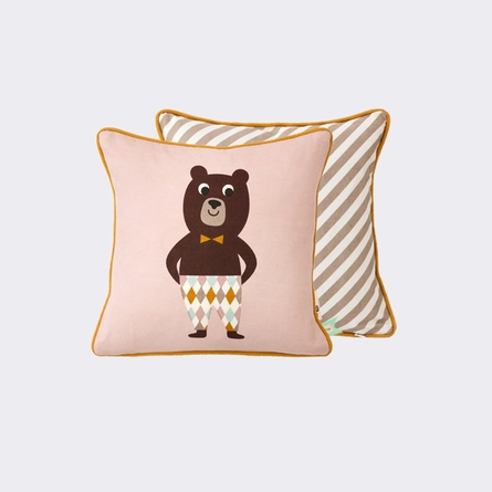 Vintage Dapper Bear Throw Pillow