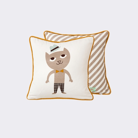 Vintage Dapper Cat Throw Pillow