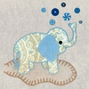 Vintage Elephant in Blue Canvas Wall Art