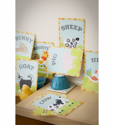 Vintage Farm Animal Wall Cards in Multiple Languages