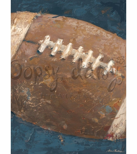 Vintage Football Canvas Wall Art in Blue