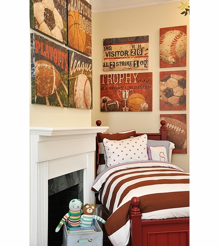 Vintage Football Canvas Wall Art in Red