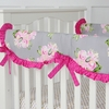 Vintage Gray Floral Crib Rail Cover