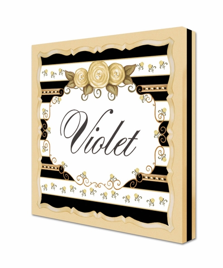Vintage Roses Personalized Canvas Art in Antico Black