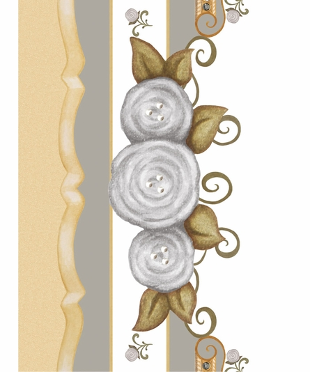 Vintage Roses Personalized Canvas Art in Gustavian Grey