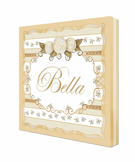 Vintage Roses Personalized Canvas Art in Ivory Bisque