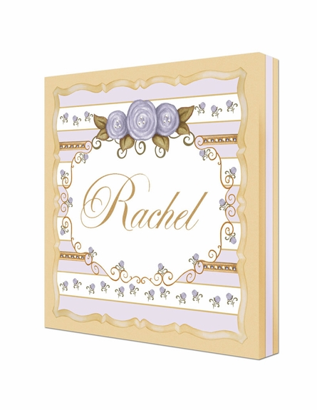 Vintage Roses Personalized Canvas Art in Lovely Lavender