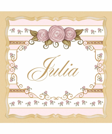 Vintage Roses Personalized Canvas Art in Posey Pink
