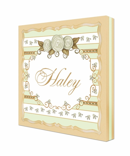 Vintage Roses Personalized Canvas Art in Provence Green