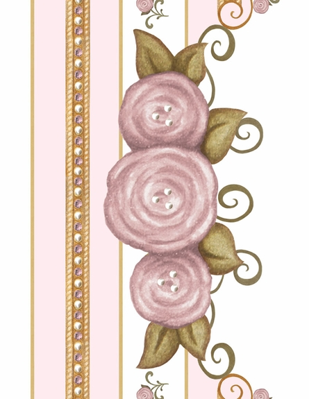 Vintage Roses Personalized Wall Hanging in Posey Pink