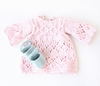 Vintage Smocked Dress & Shoes Organic Hand-Knit Doll Clothes