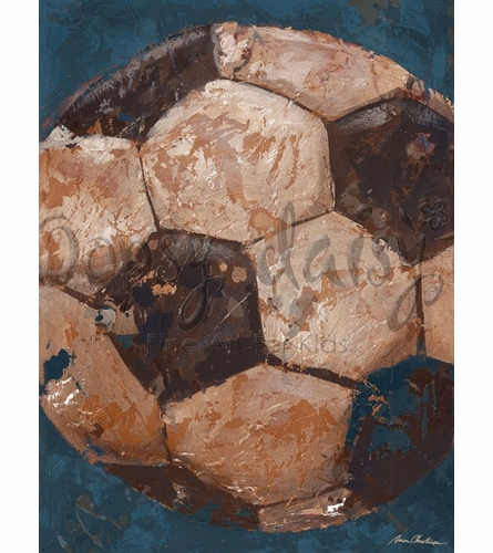 Vintage Soccer Ball Canvas Wall Art in Blue