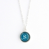 Viridian Color Personalized Initial Necklace