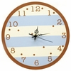 On Sale Wall Clock in Blue & Chocolate Stripe