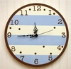Wall Clock in Blue & Chocolate Stripe