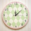 Wall Clock in Pink & Green Harlequin