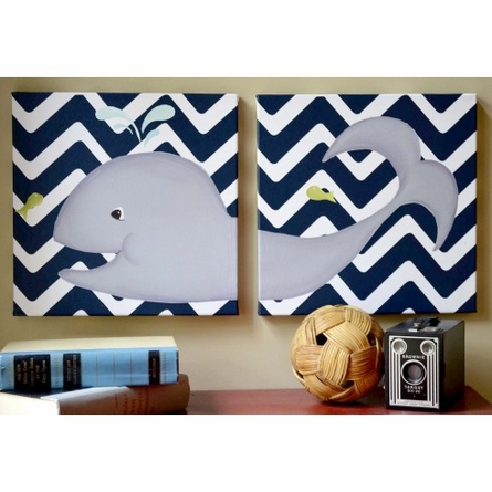 Wallace Whale Diptych in Navy Canvas Reproduction
