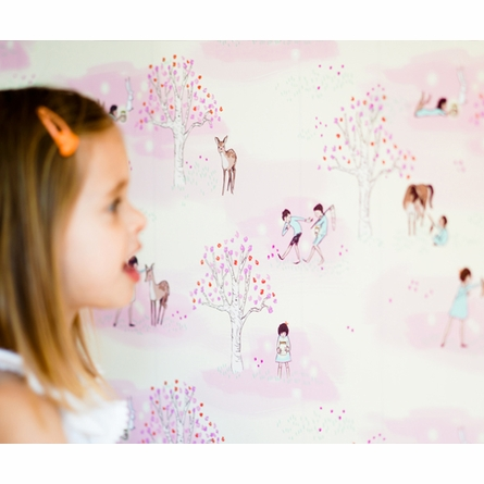 Wander Woods Removable Wallpaper in Pink