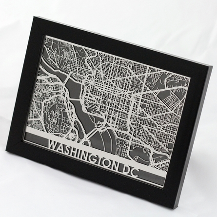 Washington DC Stainless Steel Framed Map