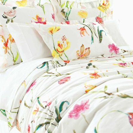 Watercolor Flowers Euro Sham