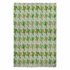Watercolor Houndstooth Emerald Moss Flat Weave Rug