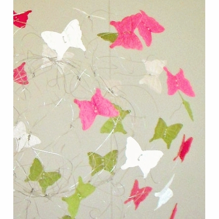 Watermelon Pink and Green Butterfly Mobile