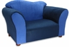 Wave Chair in Navy and Blue Microsuede