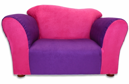 Wave Chair in Pink and Purple Microsuede