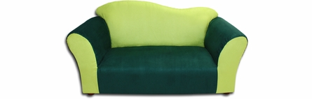 Wave Sofa and Chair Set in Green Microsuede