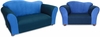 Wave Sofa and Chair Set in Navy and Blue Microsuede