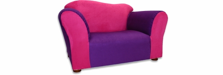 Wave Sofa and Chair Set in Pink and Purple Microsuede