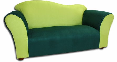Wave Sofa in Green Microsuede