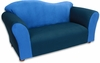 Wave Sofa in Navy and Blue Microsuede