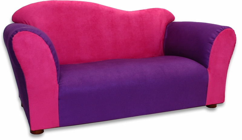 Wave Sofa in Pink and Purple Microsuede - RosenberryRooms.com