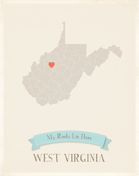 West Virginia My Roots State Map Art Print - Blue