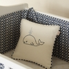 Whale Embroidered Pillow