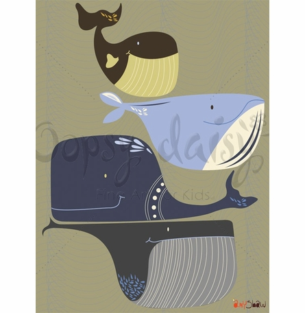 Whale Pod Canvas Wall Art