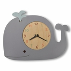 Whale Wall Clock with Blue Spout