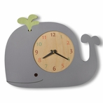 Whale Wall Clock with Green Spout
