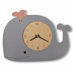 Whale Wall Clock with Pink Spout