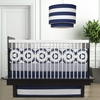 Wheels Motif Three-Piece Crib Set in Cobalt