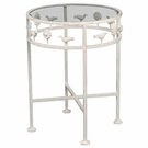 Whimsical Birds Iron Bedside Table with Glass Top