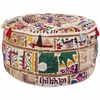 Whimsical Moroccan Round Pouf in Bright Colors