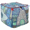 Whimsical Moroccan Square Pouf in Blue and Green