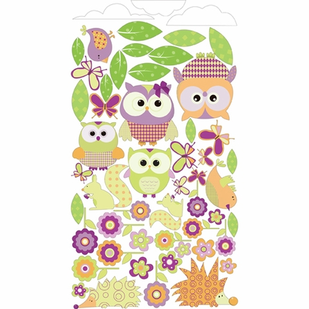Whimsical Owl Family and Critters in Bright Girly Wall Sticker